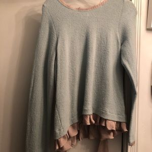 Sweater from Anthropologie with satin trim and bow
